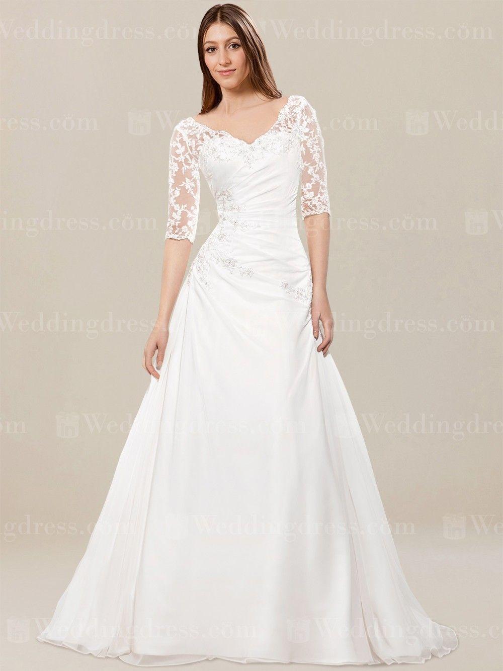 Brautkleid mit Ärmeln SV54 | Halblange Ärmel, Plissierter rock und ...