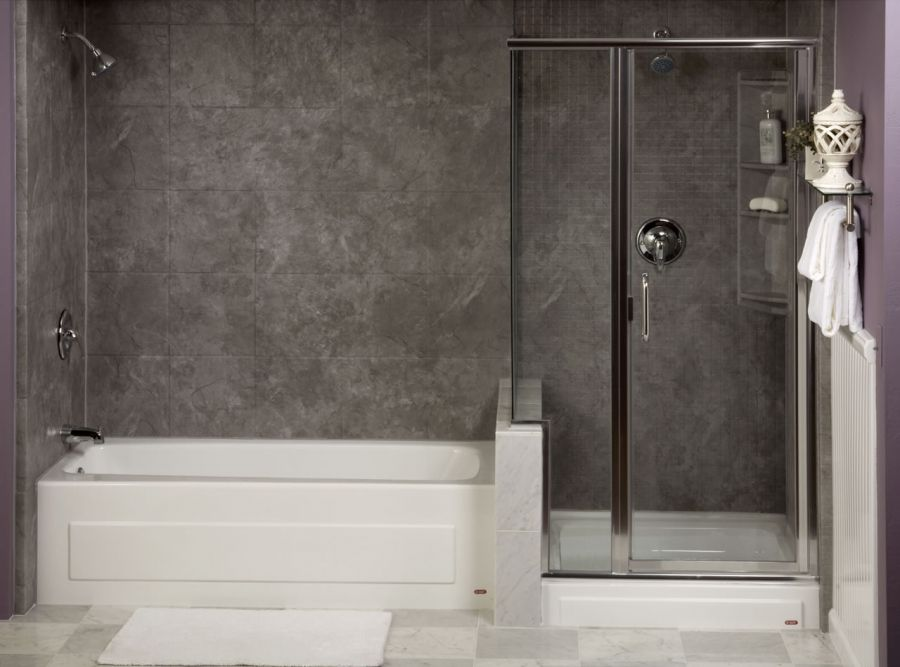 Arctic Gray Shower Bathtub Combo Featuring Mosaic And Slate Walls A Custom Semi Frameless Shower Door And A Shower Tower