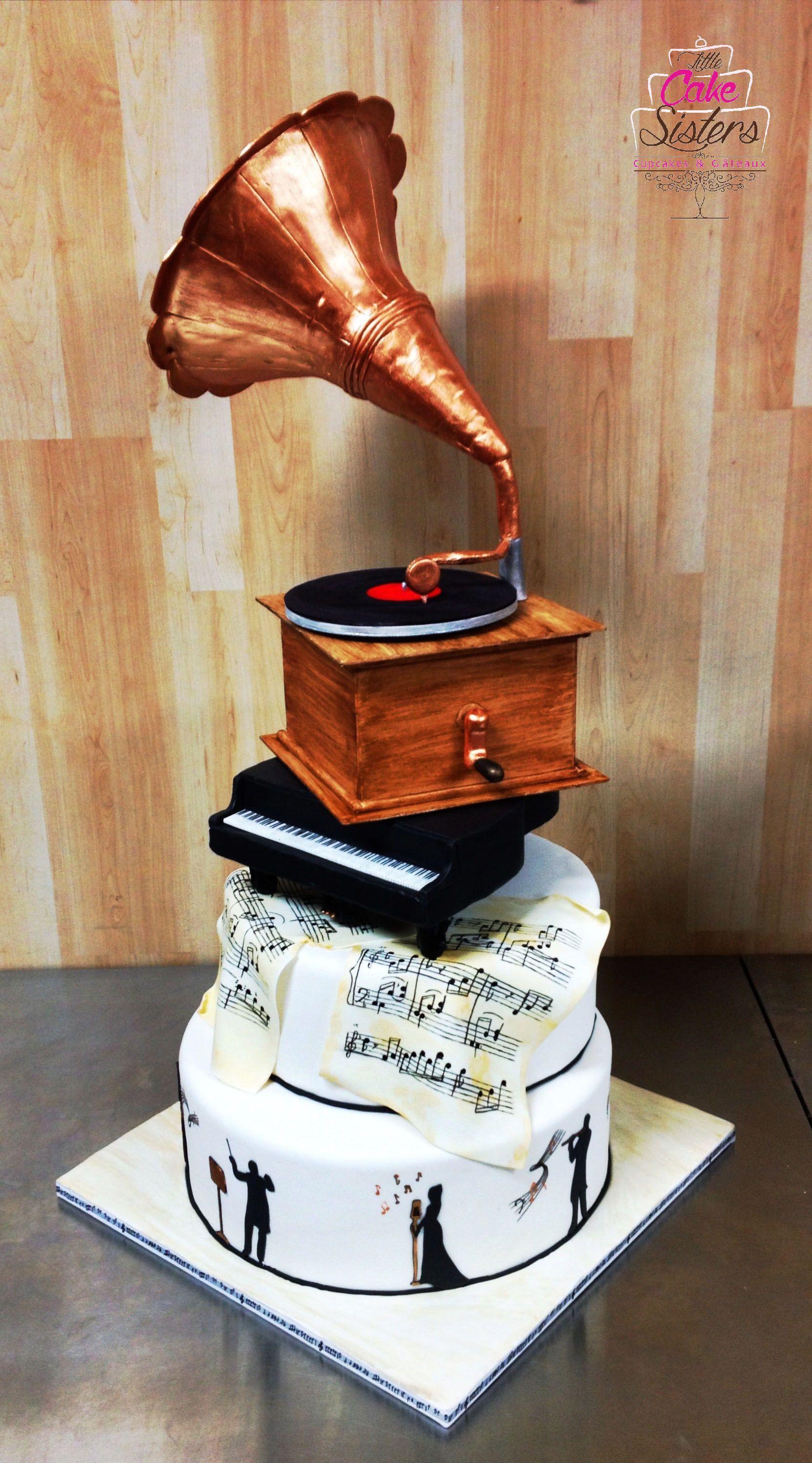 g teau cake design musique classique gramophone en p te. Black Bedroom Furniture Sets. Home Design Ideas