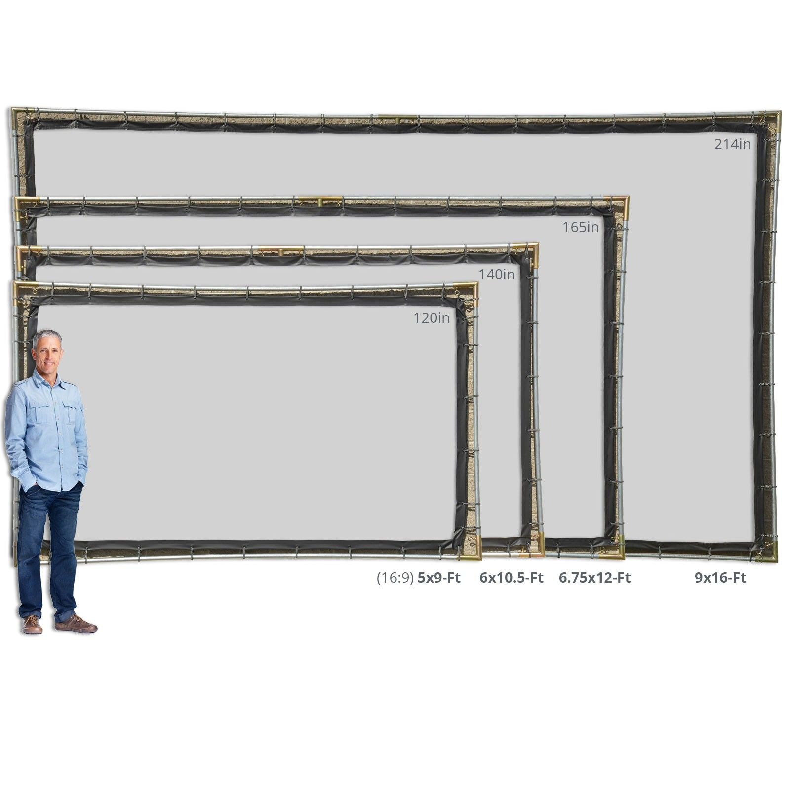 """10/' x 16/' OUTDOOR HANGING HOME THEATER PROJECTION MOVIE SCREEN KIT ~3//4/"""" Fitting"""