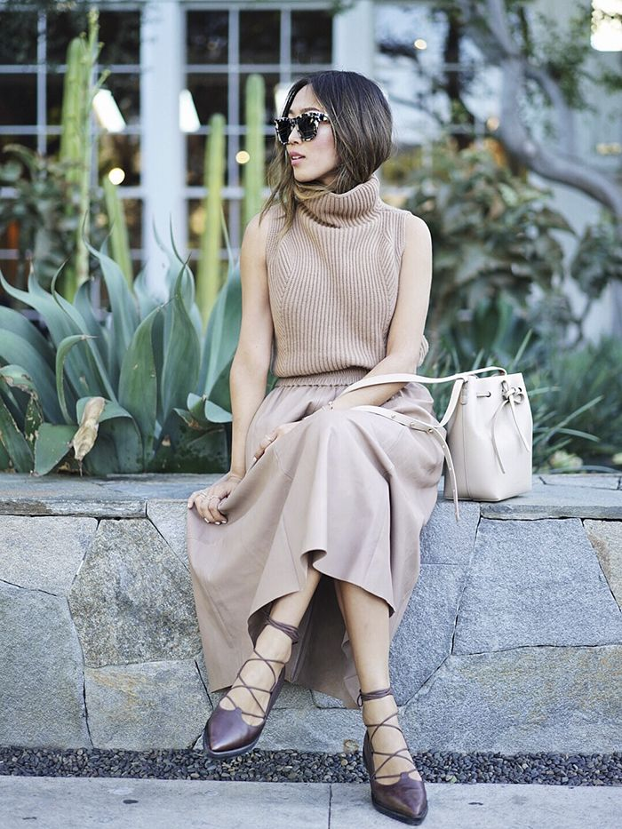 e37204f4e80c41 Aimee Song of Style Camel Vince Sleeveless Turtleneck Sweater Leather Skirt
