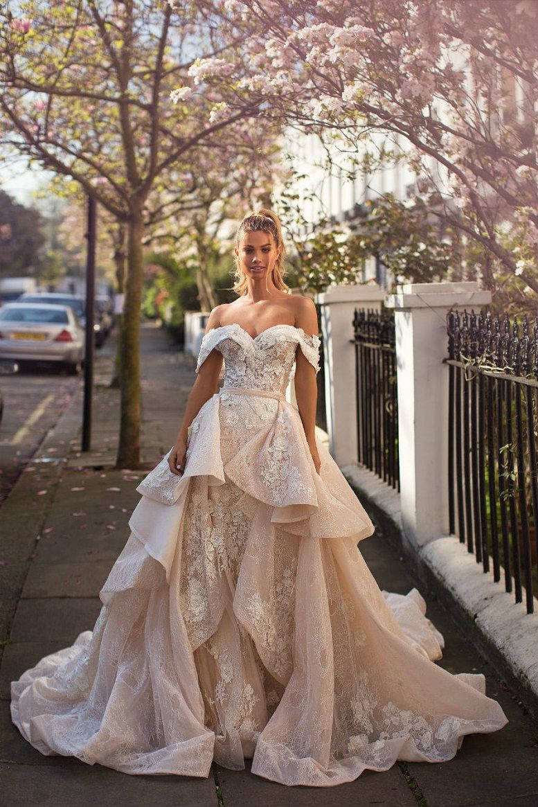 Milla Nova Blooming London Bridal Collection, sweetheart neckline off the shoulder wedding dress, heavy embellishment wedding dress #weddingdress #weddinggown