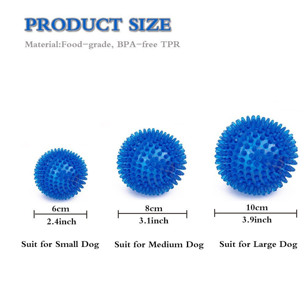Dog Toys Chewing Ball Tpr Bouncy Floating Teeth Cleaning Spiky