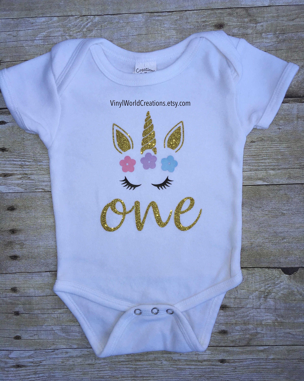 8542f62d Unicorn one year old glitter Onesie, Unicorn 1st birthday glitter onesie,  unicorn baby onesie, unicorn 1st birthday girl, baby bodysuit by ...