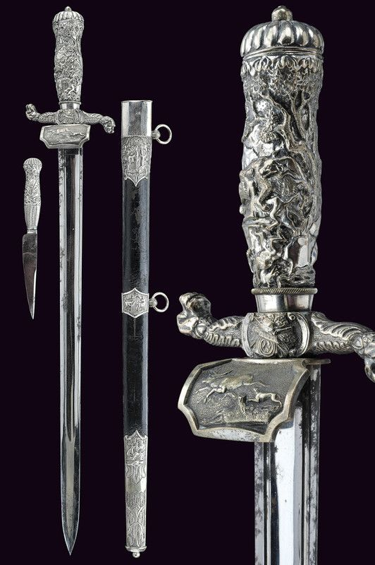 A silver mounted hunting hanger,   provenance:Germany dating: 19th Century.