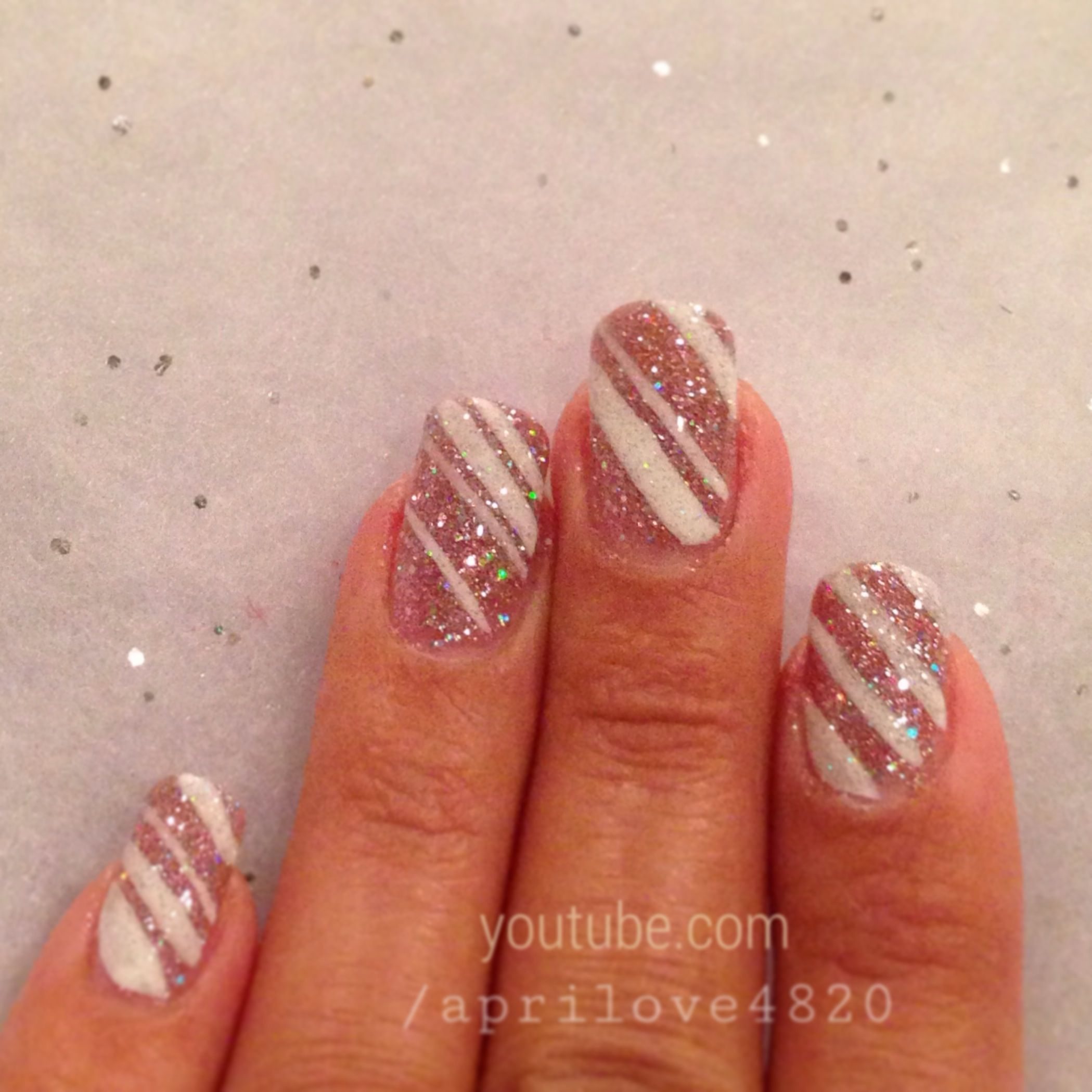Glitter Nails For Christmas 2013 Pink Glitter Sparkle Nail Art