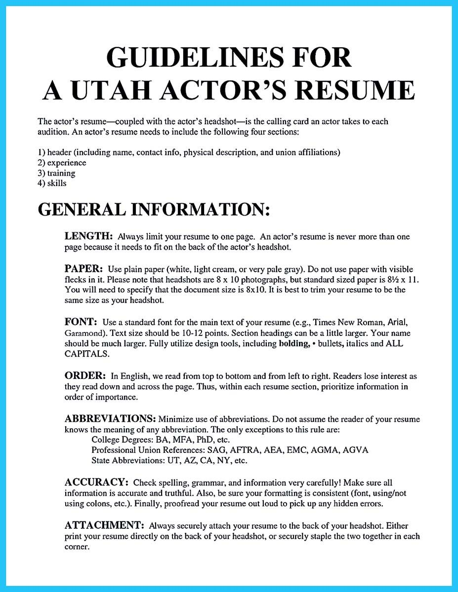 cool learning to write an audition resume