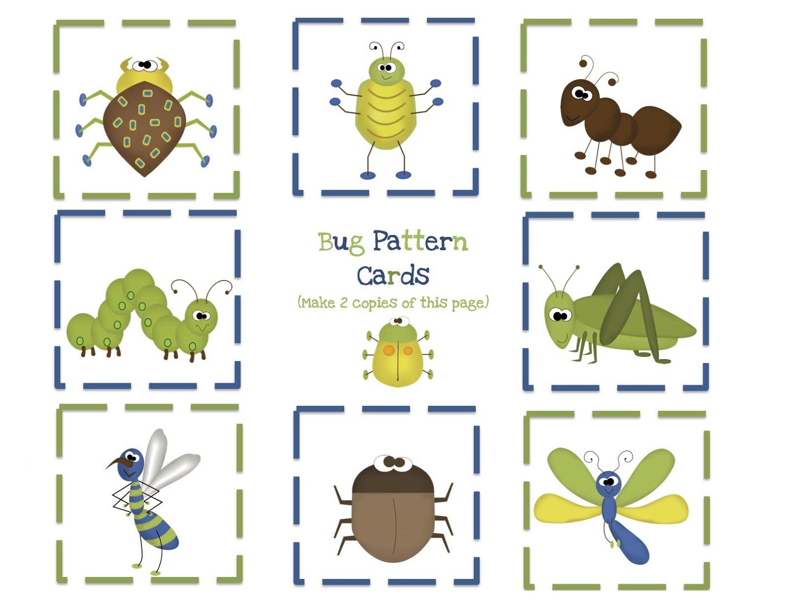 Bug Pattern Cards Jpg 1 600 1 236 Pixels Bugs Preschool Preschool Bug Theme Preschool Printables