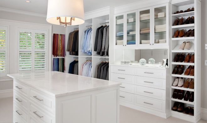 Dressing Room In White Painted Maple Walk In Closets