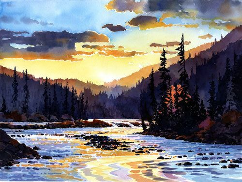 Sunset On The Whirlpool River Jasper By Gregg Johnson Watercolor SunsetWatercolor Landscape PaintingsWatercolor