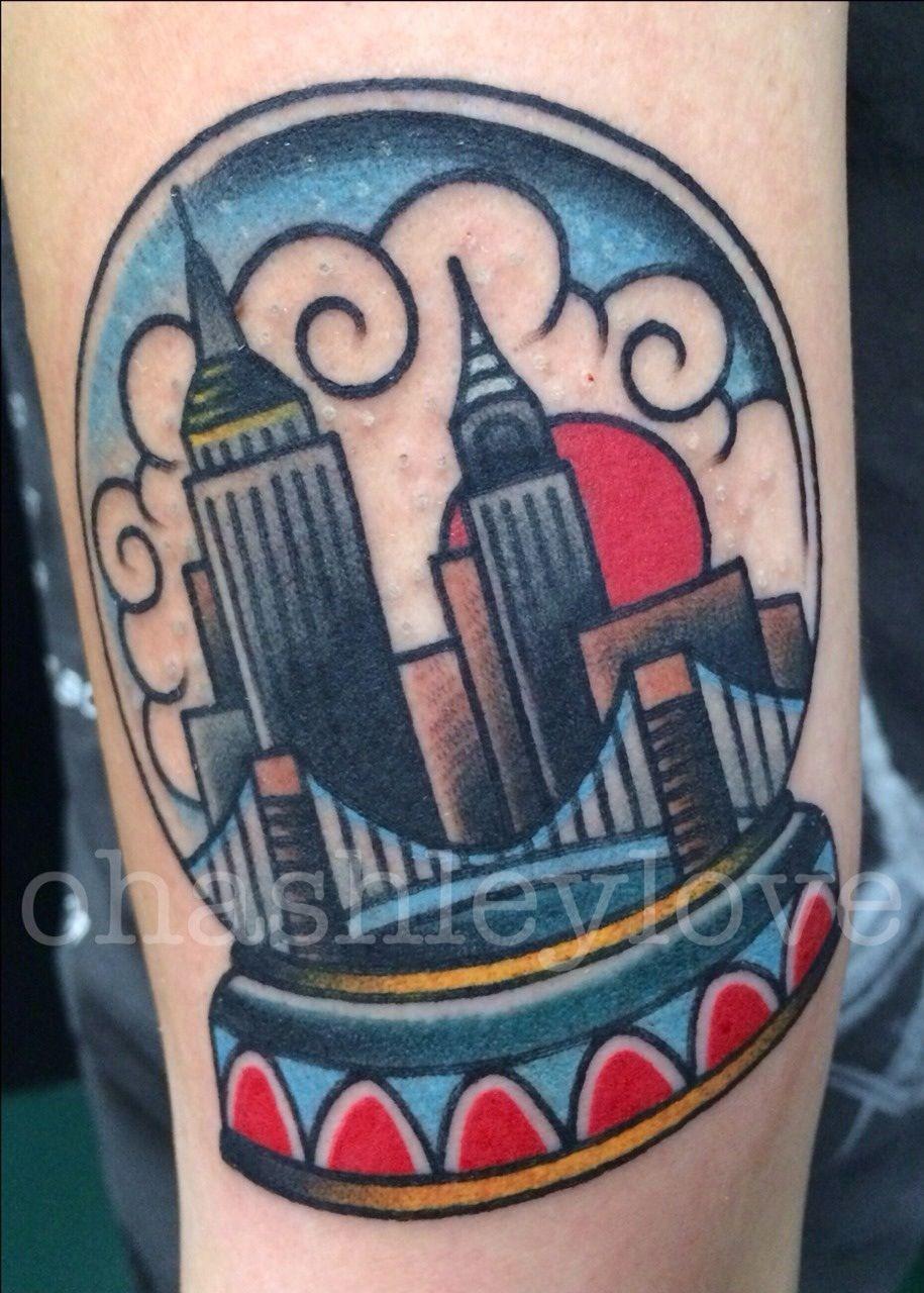Traditional Tattoo Nyc Snow Globe Traditional Tattoo Globe Tattoos New York Tattoo