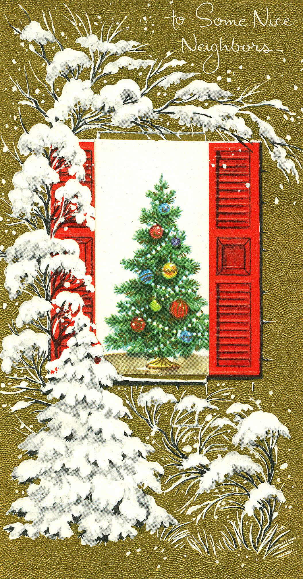 #Christmas #Vintage #Greeting #Snow #Ephemera #Tree #Home