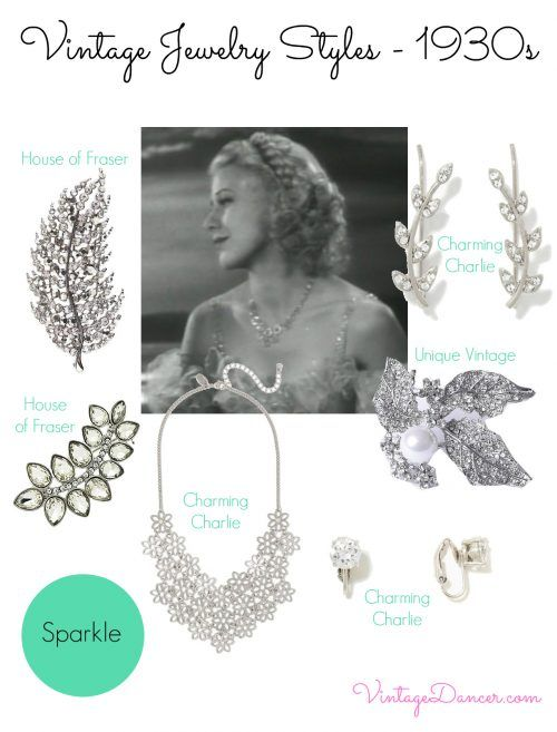 """Recreate the 1930s jewelry sparkle trend with these vintage inspired pieces. """"White on white"""" jewelry appeared on both day and evenings clothing. It was a poor time but the jewelry made a woman look rich. Learn and shop VintageDancer.com/1930s"""