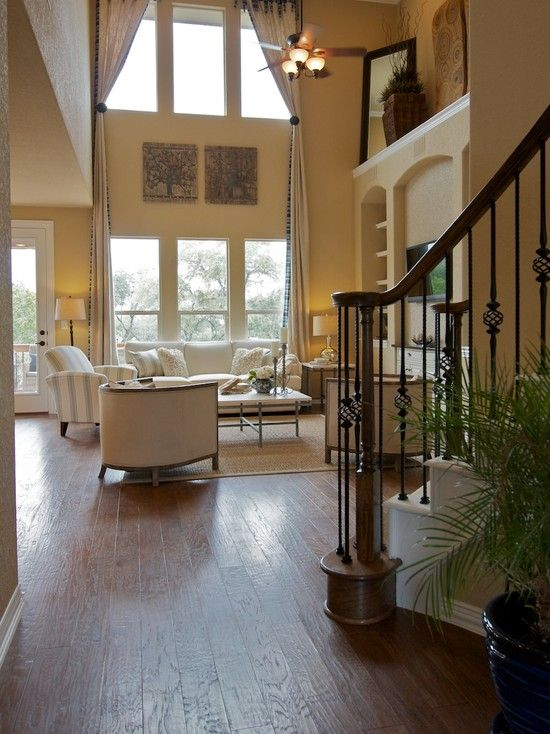 Two Story Family Room Design Ideas Pictures Remodel And Decor Window Treatments Living Room Living Room Windows Family Room Design