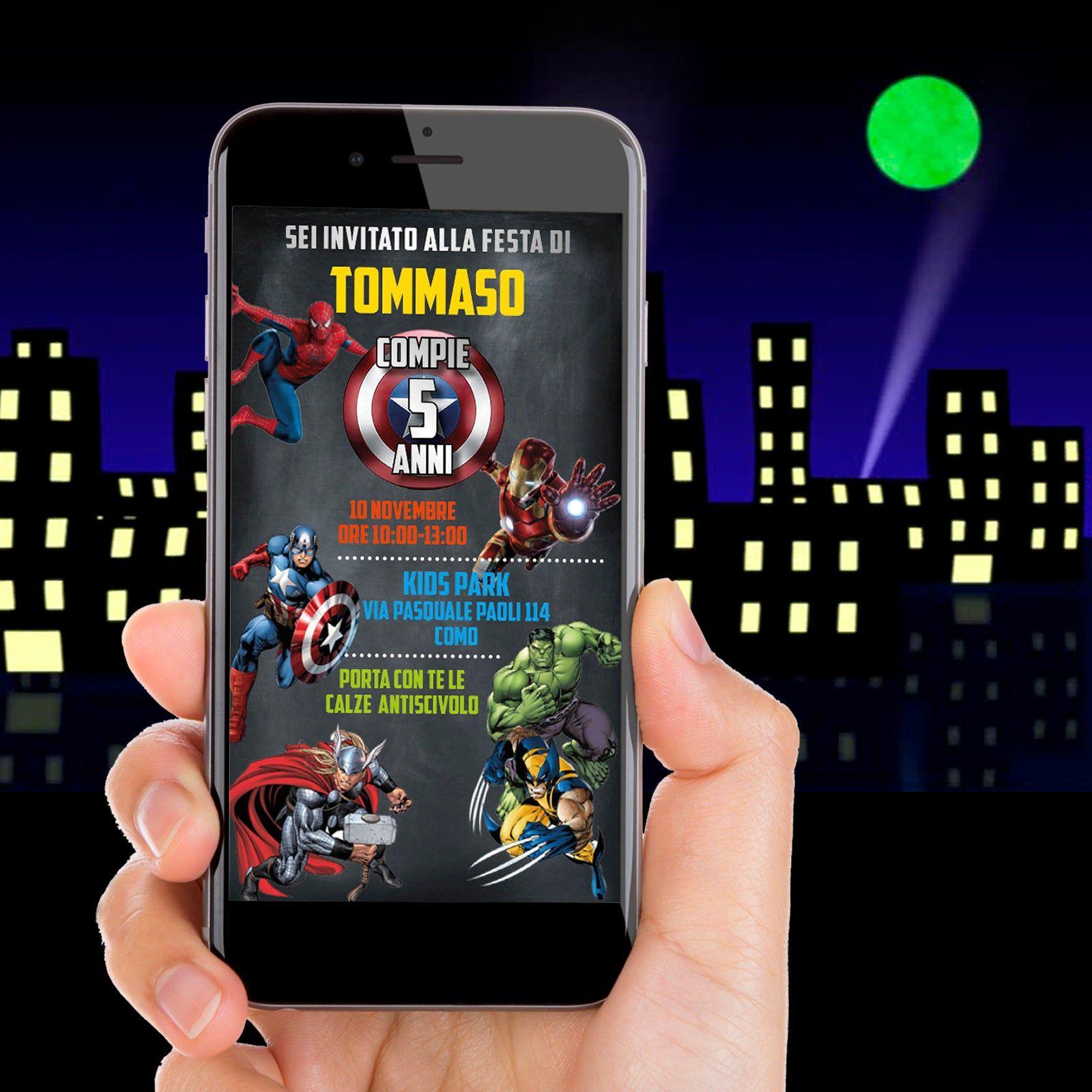 Invito Digitale Super Eroi Biglietto Invito Festa Whatsapp Partykit Nascita Battesimo Comunione Cresima Idee Regalo Fatto A Mano Festa Di Compleanno