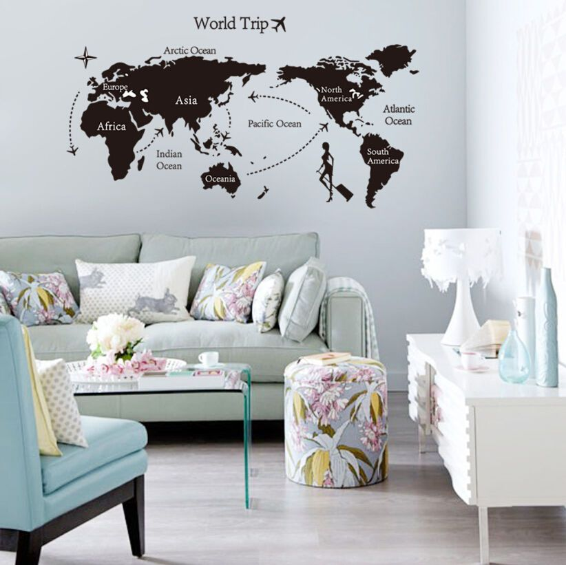 World Map Removable Travel Vinyl Art Wall Sticker Room Decal Mural