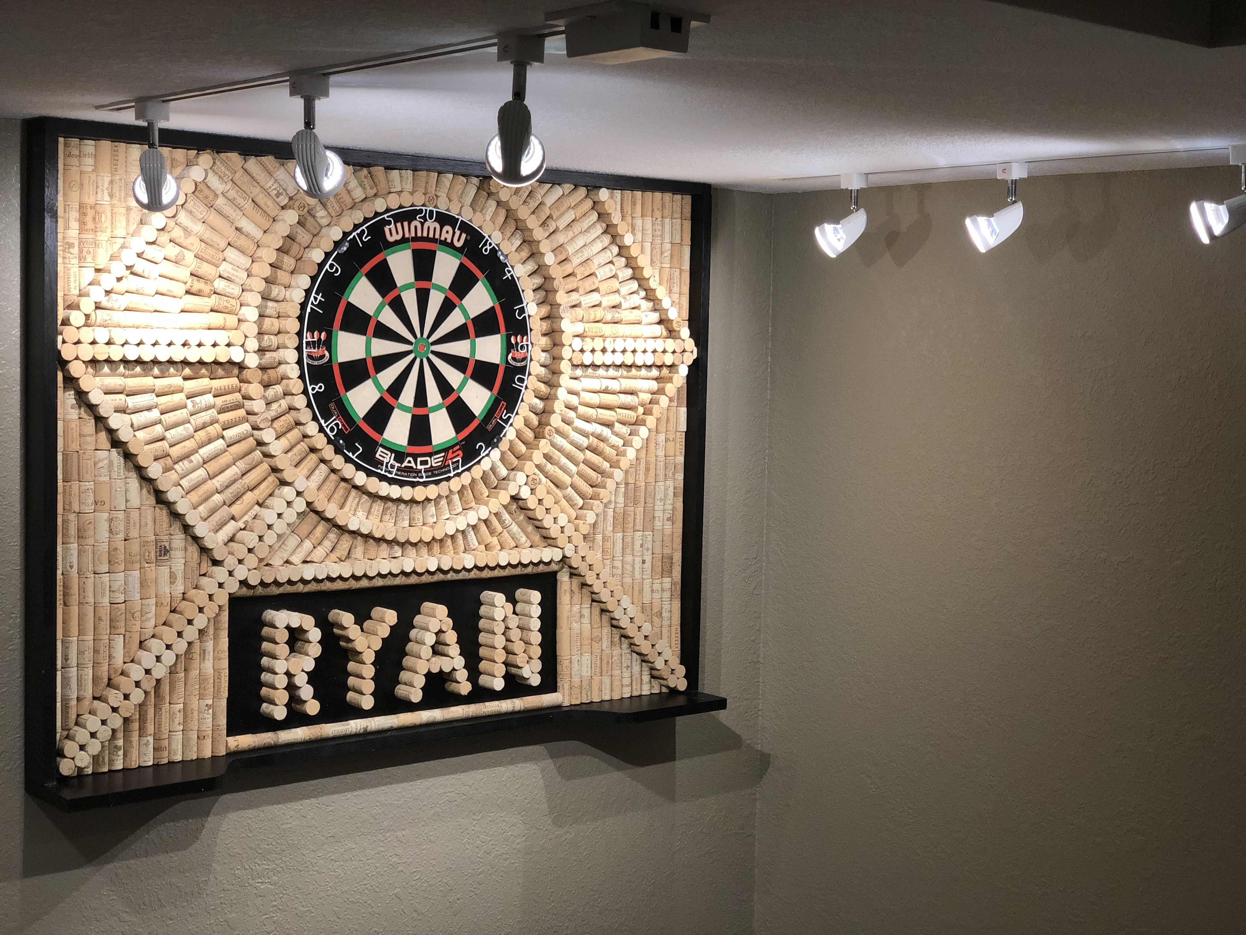 Diy Cork Dart Board Surround For The New Finished Basement With
