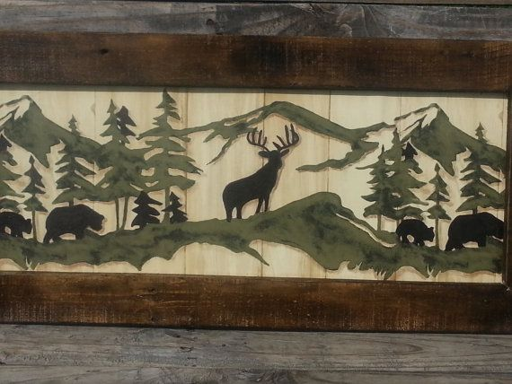 Barn wood Frame Wildlife Print Country by