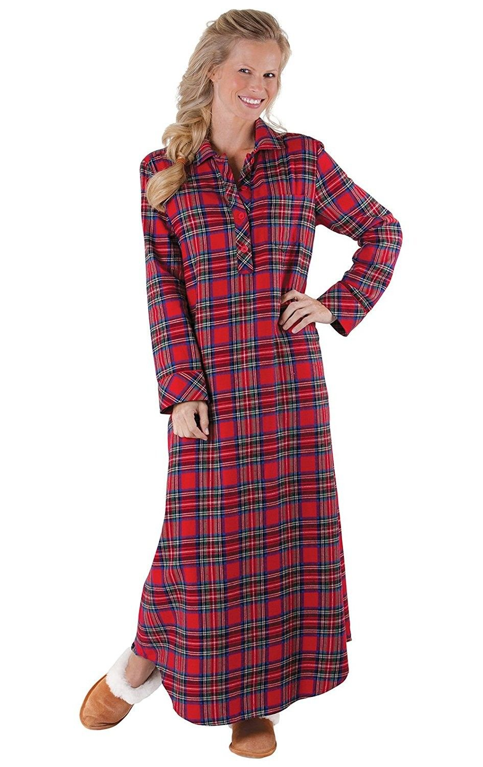 Women s Classic Stewart Plaid Flannel Nightgown- Red - Red ... acb6a126c1