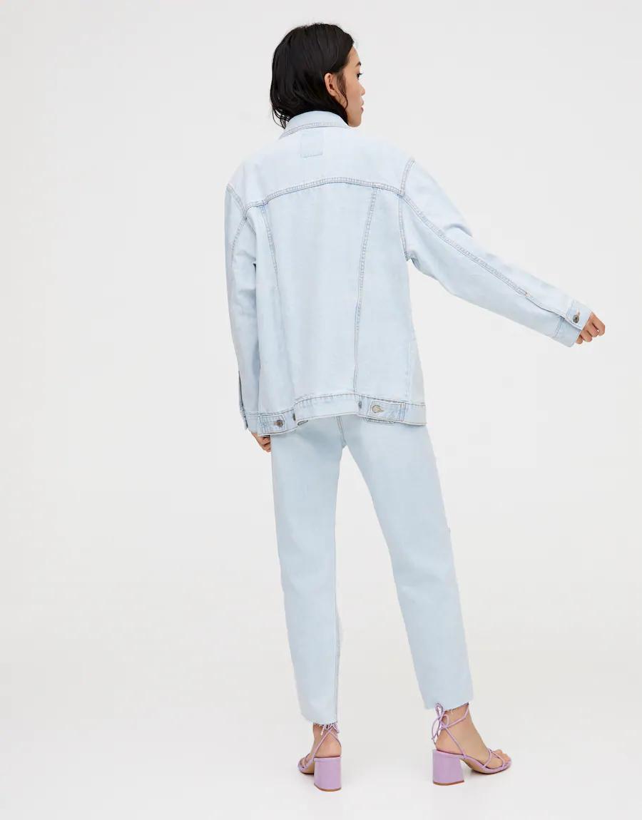 Dugmeli Oversize Denim Ceket Pull Bear 2020 Denim Ceketler Giyim Gomlek