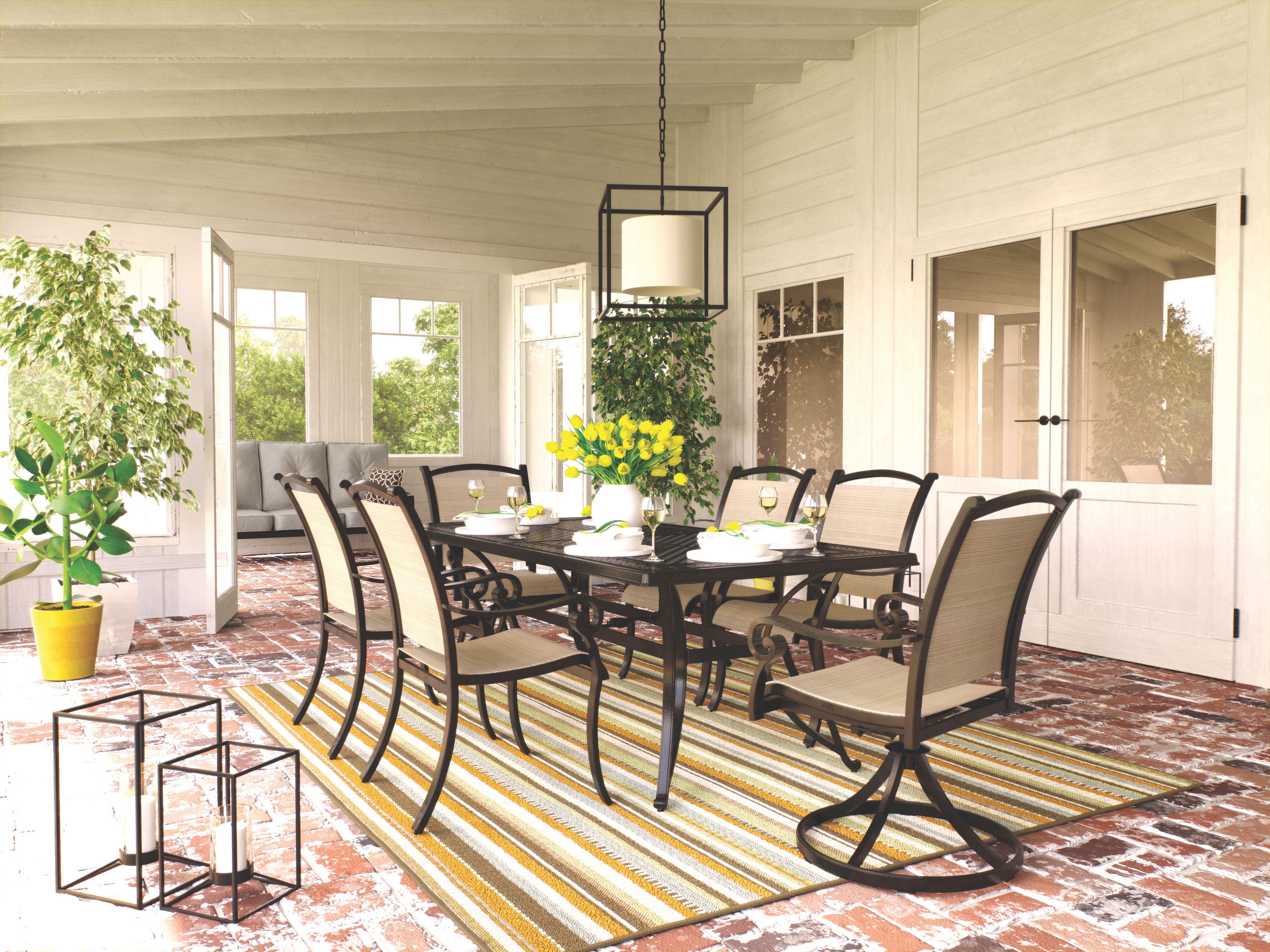 Burnella 7 piece outdoor rectangular dining set brown