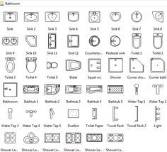 Bathroom Symbols Floor Plan Symbols Architecture Symbols Interior Design Sketches