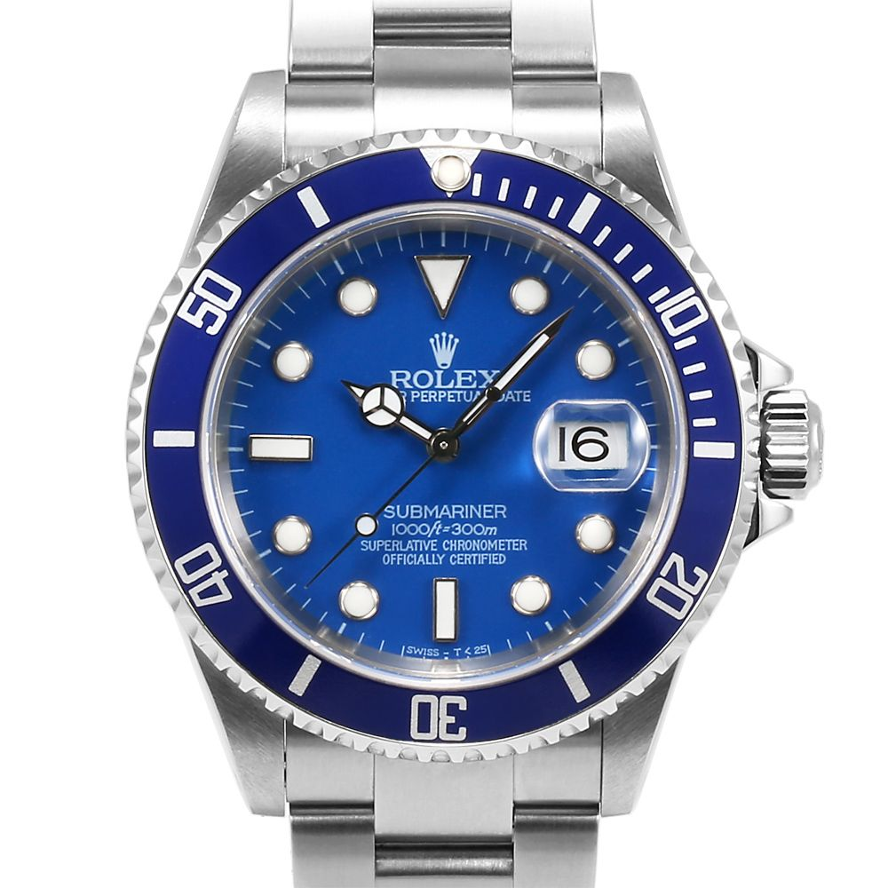 Men 39 s rolex submariner stainless steel blue index dial blue 60min bezel oyster band watches for Submariner rolex blue