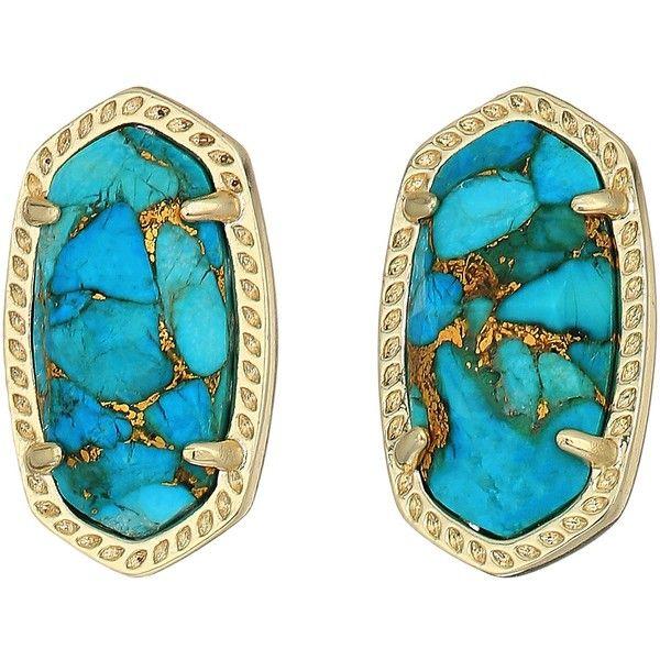8b42e94b71e59 Kendra Scott Ellie Earring (Gold/Bronze Veined Turquoise Magnesite ...