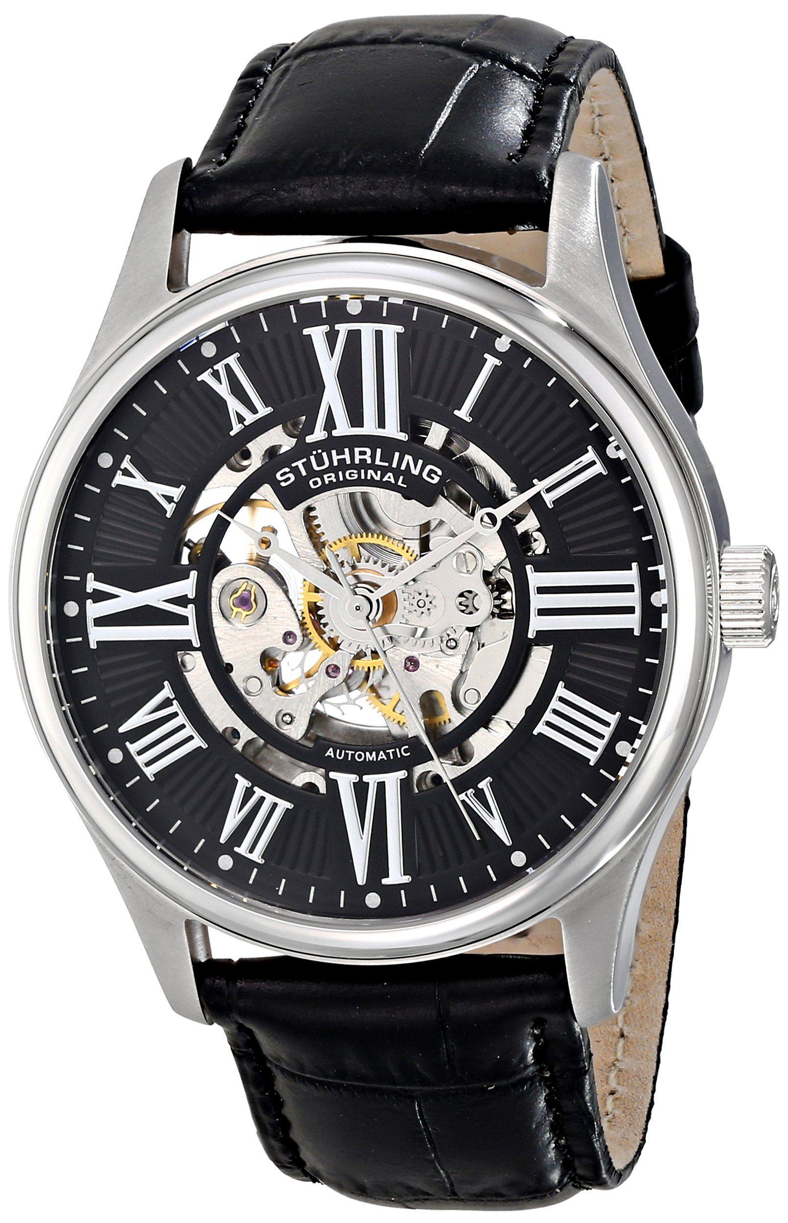 Stuhrling original men 39 s atrium automatic skeleton black dial watch clothing for Brackett watches
