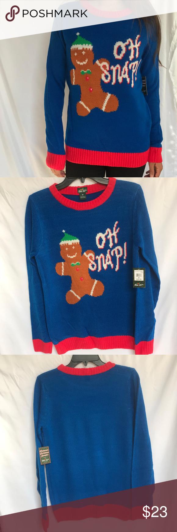 NWT Ladies Ugly Christmas Sweater - Oh Snap! NWT | Ugliest christmas ...