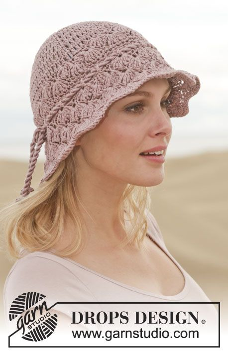 Crochet DROPS hat in \
