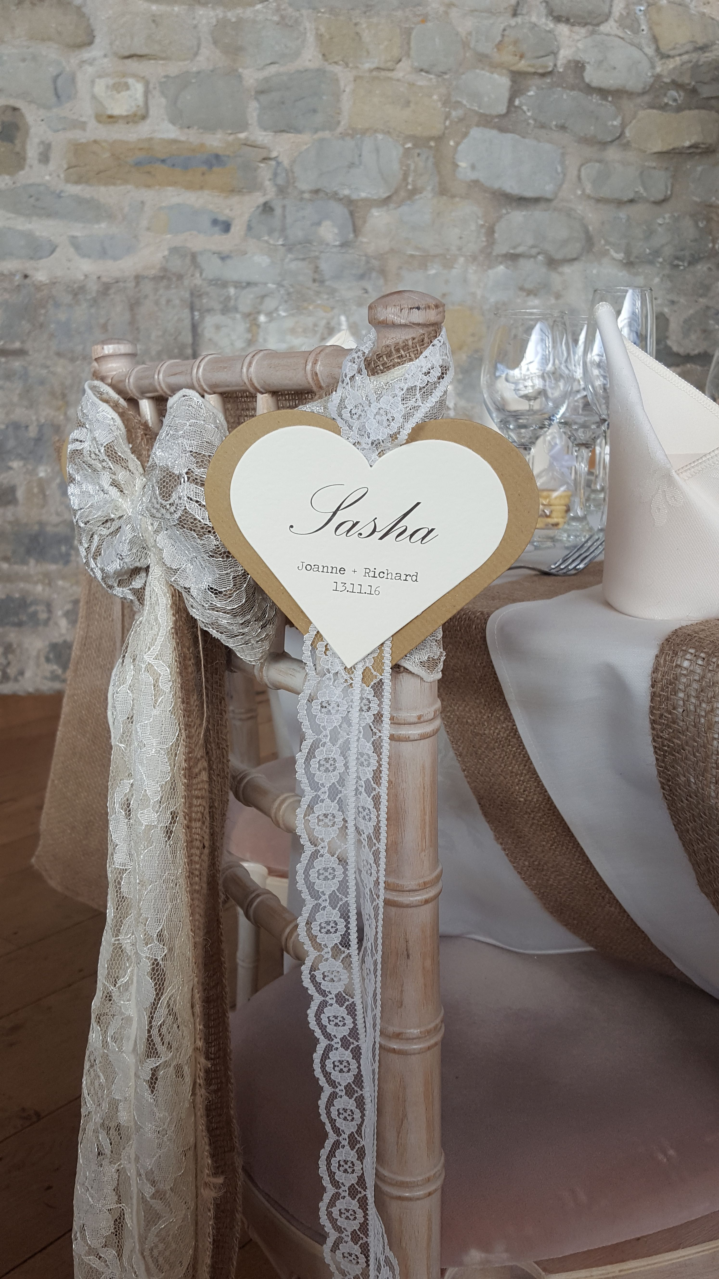 Wedding Chair Back Decorations Diy Covers No Sew Rustic Romantic Place Name Heart Shape