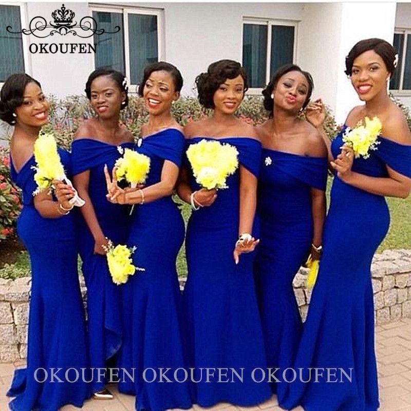 Royal Blue Bridesmaid Dresses For Women Black Girls Off Shoulder Long Wedding G Royal Blue Bridesmaid Dresses Royal Blue Bridesmaids Mermaid Bridesmaid Dresses
