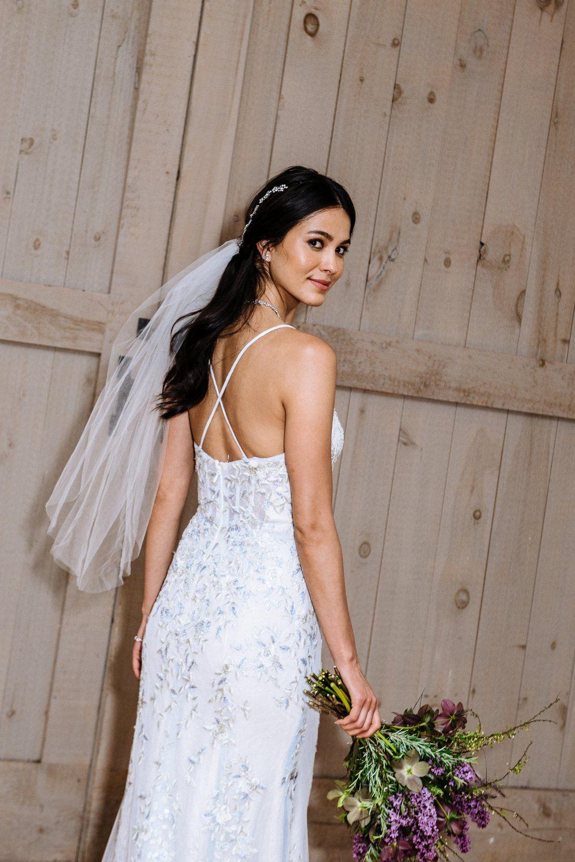 3823096404a0b Melissa Sweet Spaghetti Strap Ivory/Cloud Blue Sheath Wedding Dress  available at David's Bridal