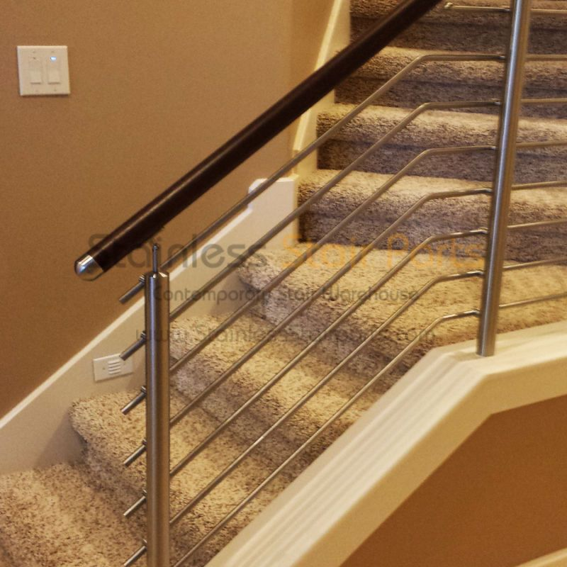 Stainless Steel Stair Railing System Modern Stair Newel Post Contemporary Stainless Steel Stair Railing Steel Stair Railing Modern Stairs