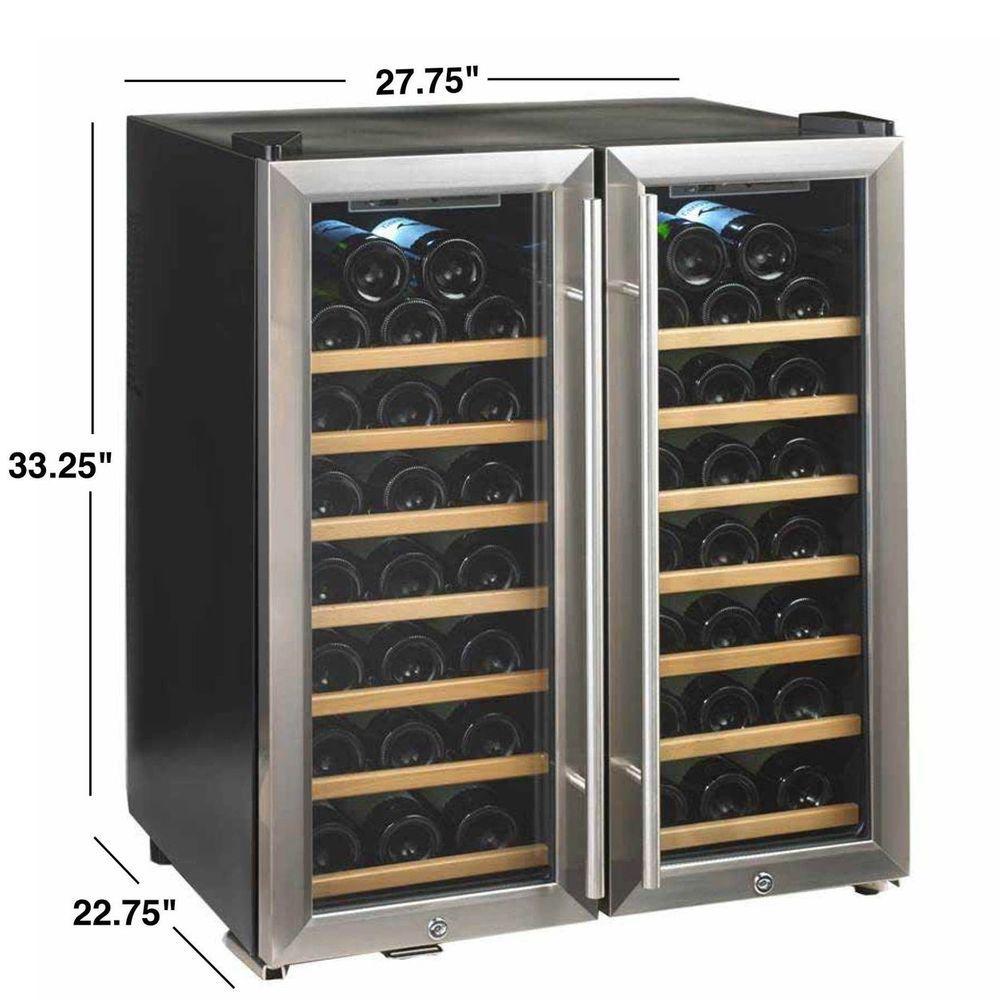 Wine Enthusiast Silent 48 Bottle Stainless Steel Double Door Dual Zone Wine Cooler With Wood Front S Dual Zone Wine Cooler Wine Refrigerator Steel Double Doors