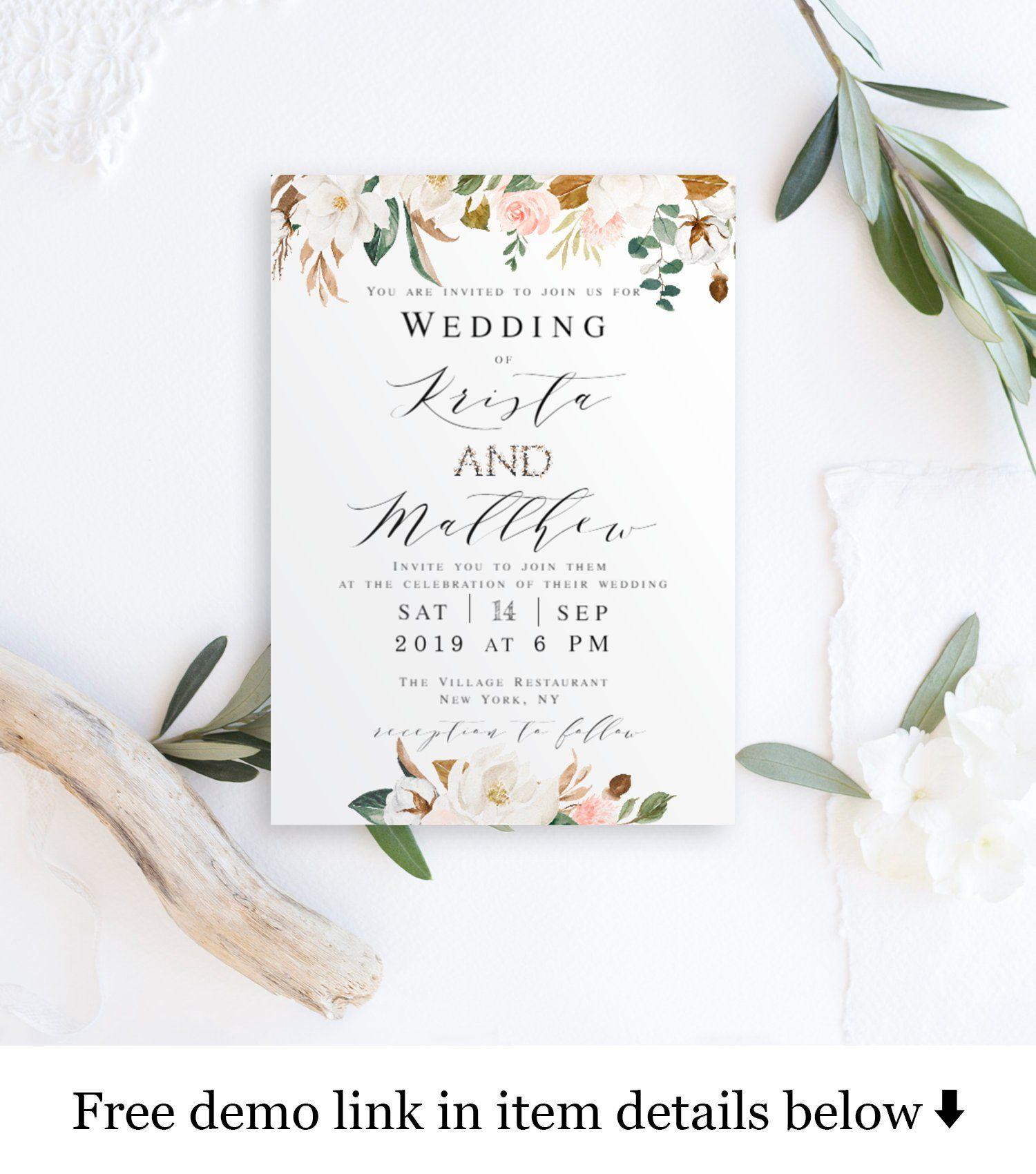 PDF DIY Self Edit Template Floral Wedding Invitation Template Download Modern Minimalist Botanical Wedding Invitation Template Download