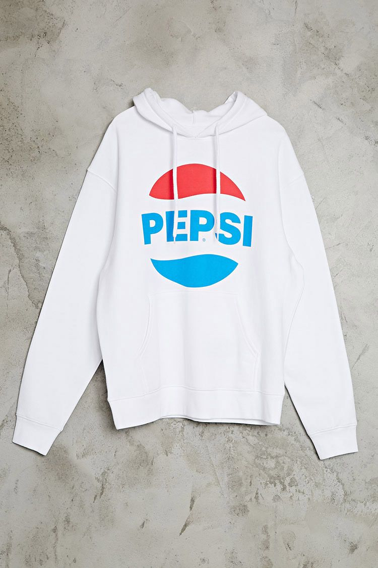 "An oversized fleece knit hoodie featuring a front ""Pepsi"" graphic with the vintage Pepsi logo, a kangaroo pocket, and long sleeves."