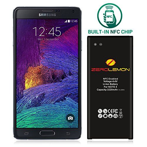 Zerolemon Note 4 Battery Galaxy Note 4 3220mah Slim Battery With Nfc For Galaxy Note 4 N910 N910u Lte At Amp T N910a V Zerolemon Galaxy Note 4 Galaxy Note