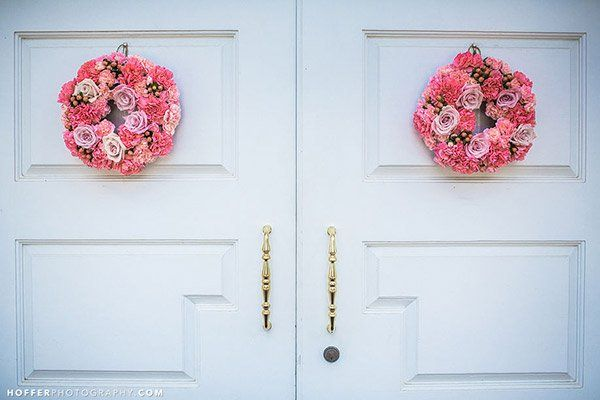Or hang up miniature wreaths, which are just as sweet.Photo Credit: Hoffer Photography