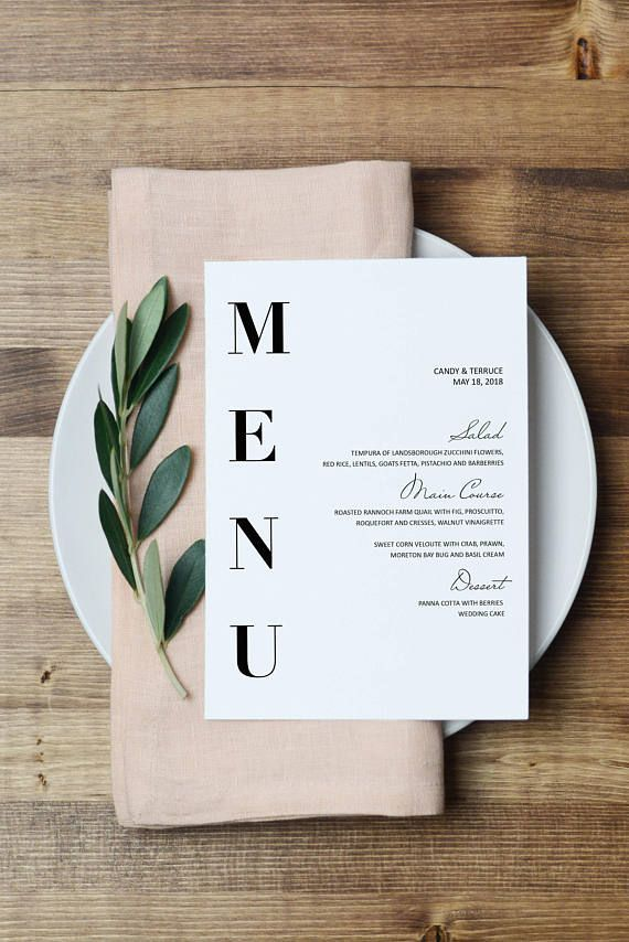 Wedding Menu Template, Modern Menu cards Template, Minimal menu Template, Wedding Menu printable, Simple Menu printable, Party Menu, ZL16