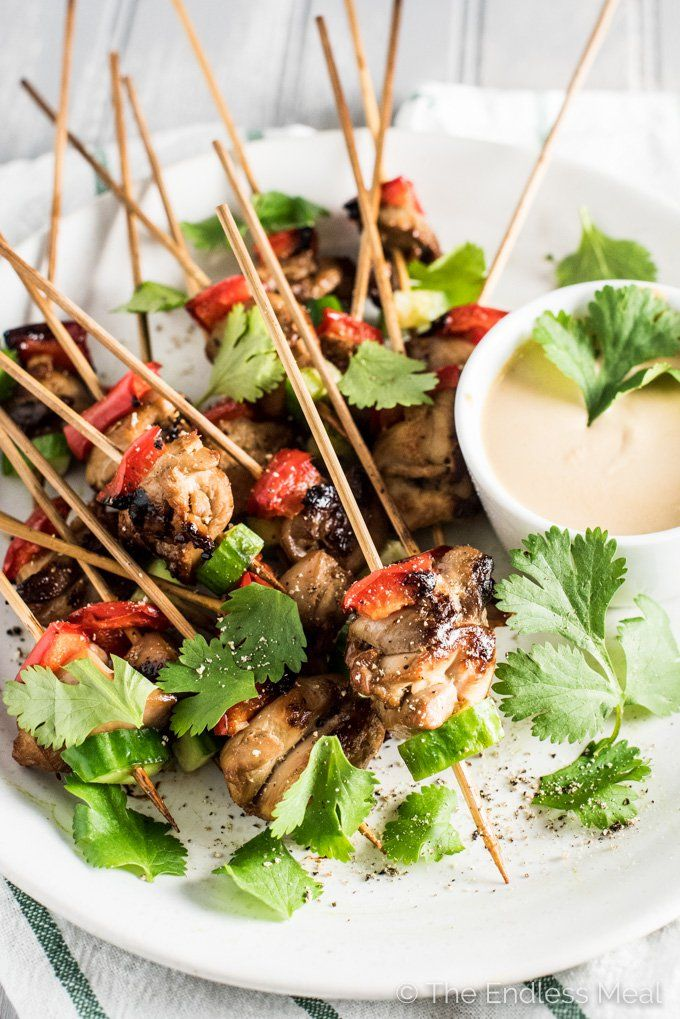 Mini Chicken Satay Skewers with Thai Peanut Dipping Sauce
