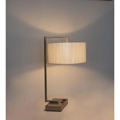Brushed nickel desk lamp with convenience outlet hotel table lamps brushed nickel desk lamp has a convenience outlet and a rocker switch on base aloadofball Images