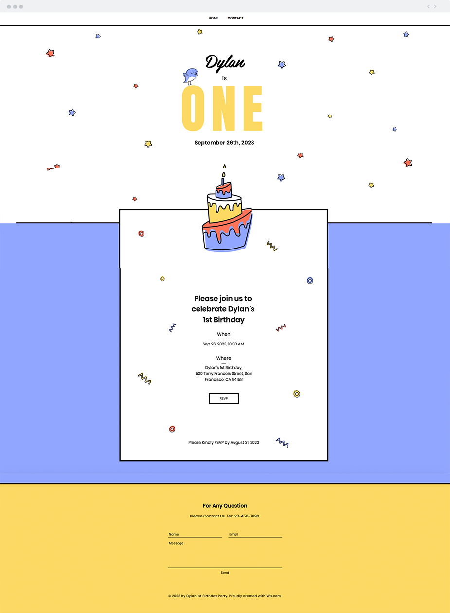 1st Birthday Party Website Template