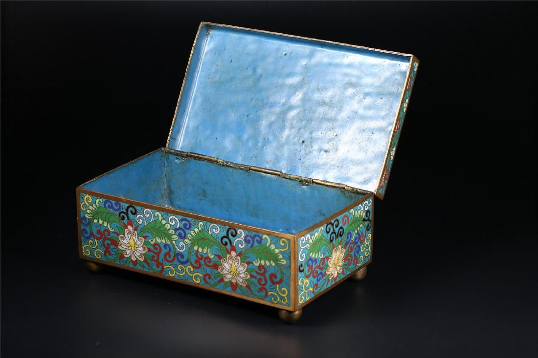 A chinese cloisonnÃu enamel box and cover cloisonneenamels