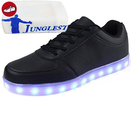 [Present:kleines Handtuch]Weiß EU 37, Damen Sport Farbe Glow Schuhe Herren Velcro LED 7 Party Aufladen Unisex USB High-Top Sneakers JUNGLEST® mit Turnschuhe weise