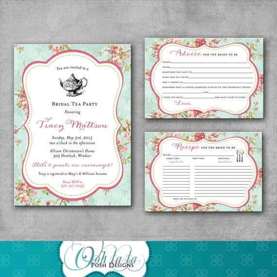 Bridal Tea Party Shower Invitation Recipe Card Advice Card Tea