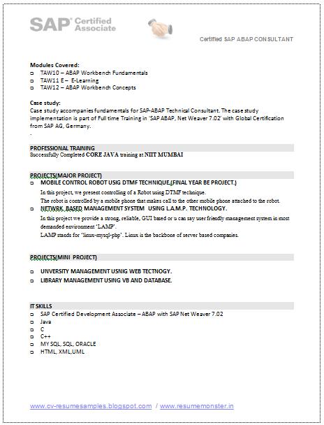 sap abap sample resume