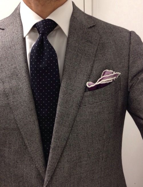 f1afb247e477c6 Grey Prince-of-Wales checked suit - shirt & tie - pocketsquare ...