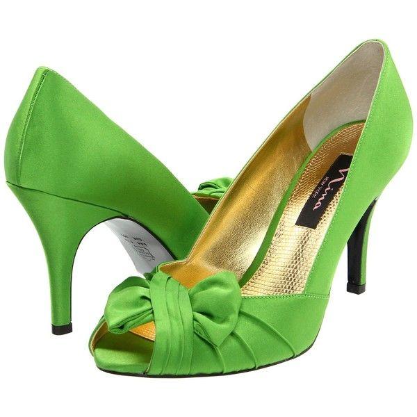 Nina Forbes (Apple Green Satin) Women's Slip-on Dress Shoes ($26)